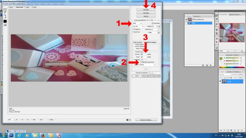 Guardar para web en Photoshop
