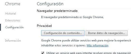 Dónde podemos modificar la configuración del navegador chrome