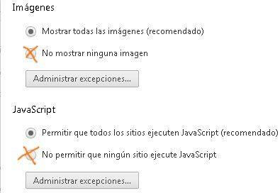 No permitir ejecutar javascript e impedir ver imágenes en el navegador