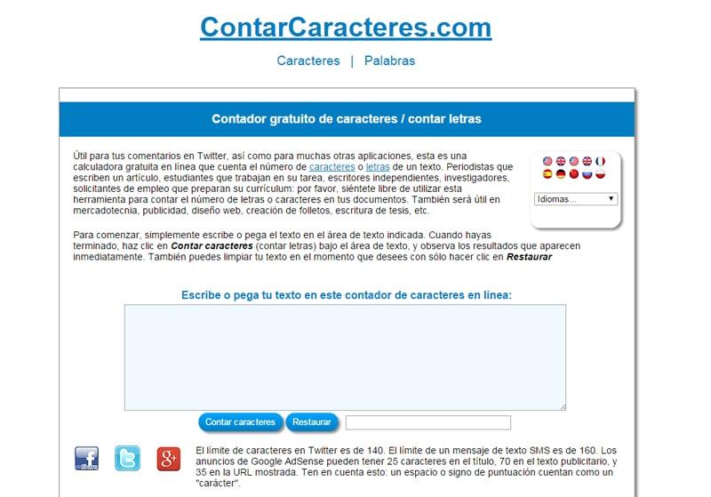 Herramienta para contar caracteres y palabras online