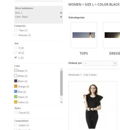 Los filtros en la tienda online