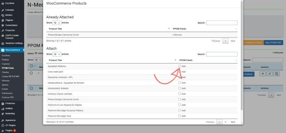 Añadir de forma masiva campos personalizados a productos